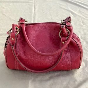 Fossil hand bag, purse, genuine leather, Red